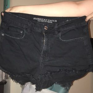 American Eagle Outfitters Shorts - Black hi-rise festival shorties